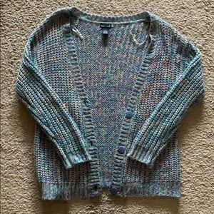Warm Rainbow Colored Sweater Cardigan